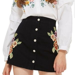 Topshop Moto Button Front Floral Embroidered Skirt